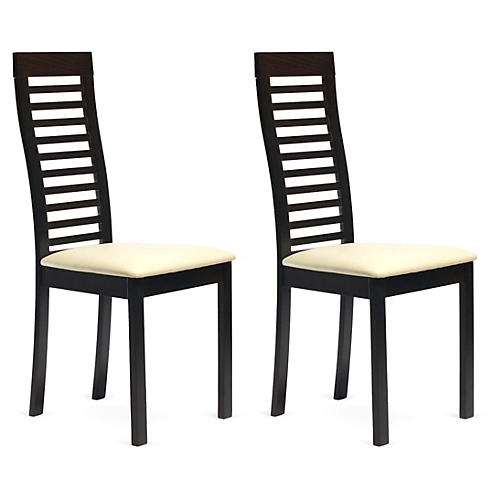 Coffee Dalton Chairs, Pair