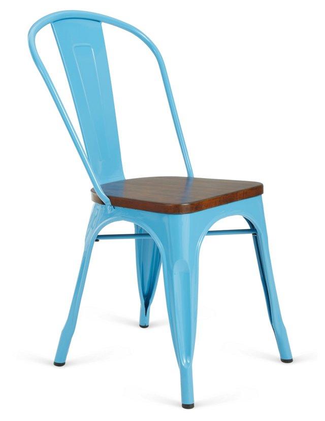 Blue Cora Chairs, Pair