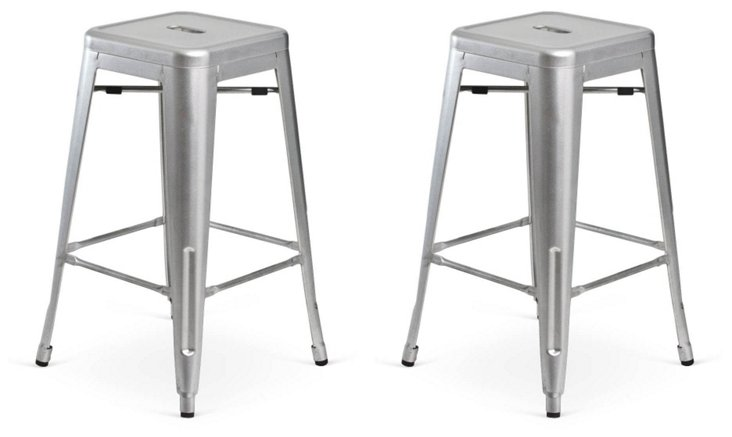 Silver Bartley Stools, Pair