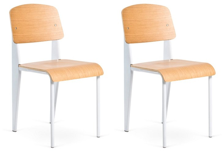 White Nelly Chairs, Pair