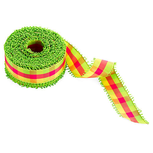 "1.5"" Plaid Loop Edge, Green/Pink/Yellow"