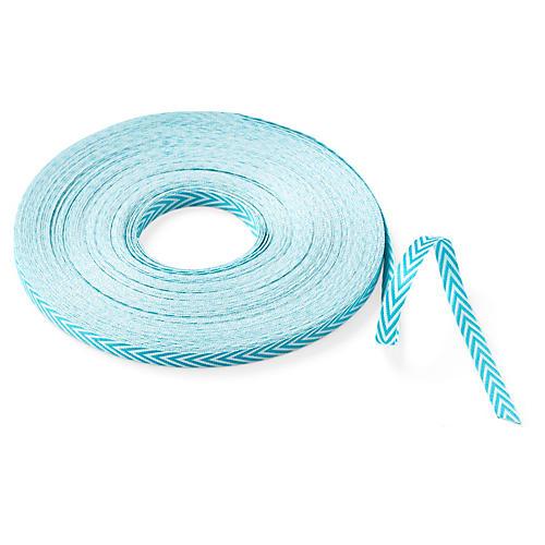 "1/4"" Twill Chevron Ribbon, Turquoise"