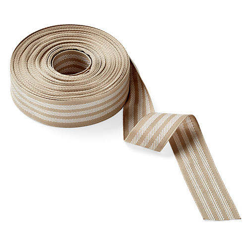 "1.5"" Woven Stripes, Natural/White"