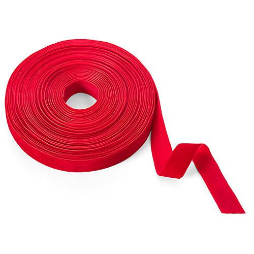 """3/4"""" Velvet Woven Ribbon, Red"""