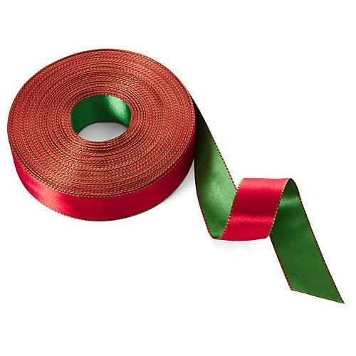 "1"" Satin Reversible Ribbon, Red/Green"