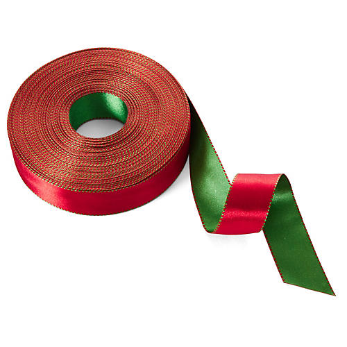 "1"" Satin Reversible Ribbon, Red/Green"