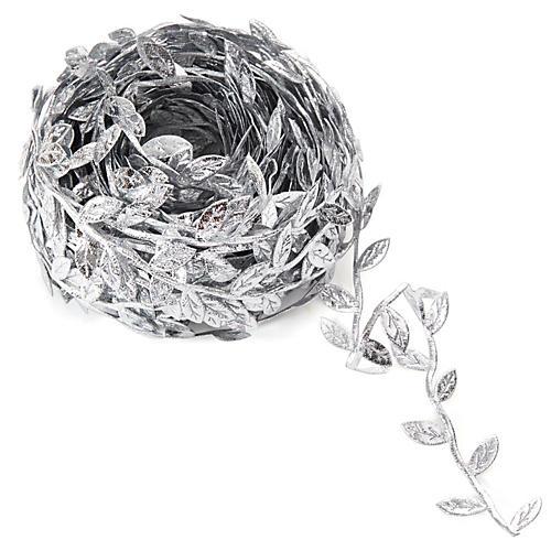 "1"" Leaves Ribbon, Silver"