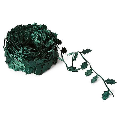 """1.5"""" Satin Holly Ribbon, Green"""