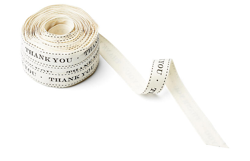 Ivory Canvas Ribbon, Thank You