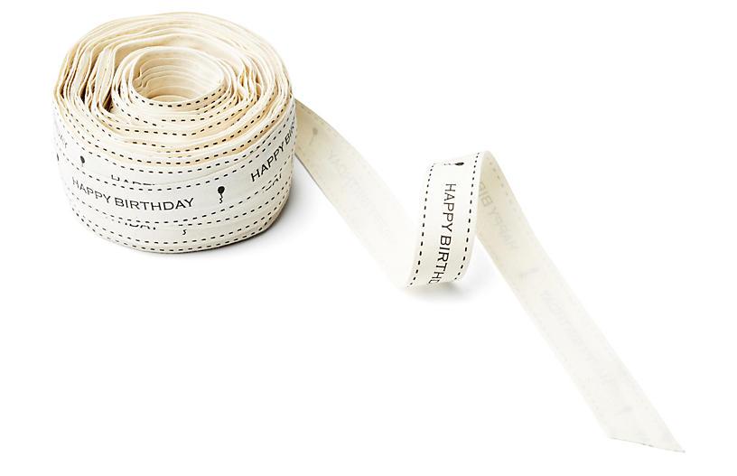 Ivory Canvas Ribbon, Birthday