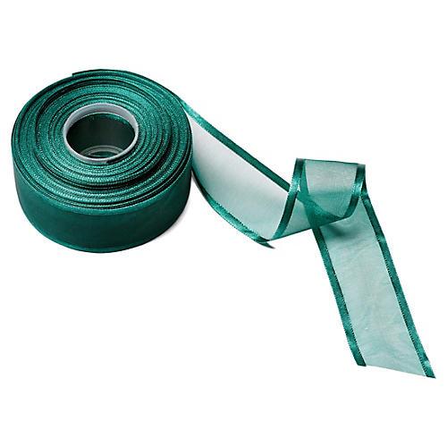 """1.5"""" Sheer/Satin Band Ribbon, Green"""
