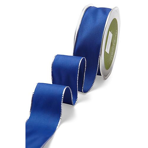 Wired Metallic Edge Ribbon, Blue/Gold