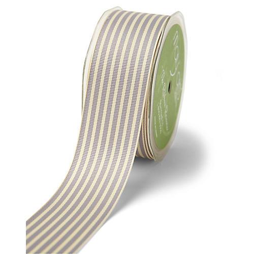 Grosgrain Stripe Ribbon, Gray/White