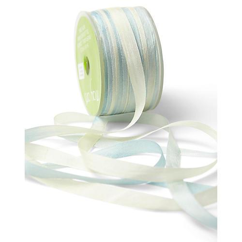 Two-Tone Silk Ribbon, Blue/White