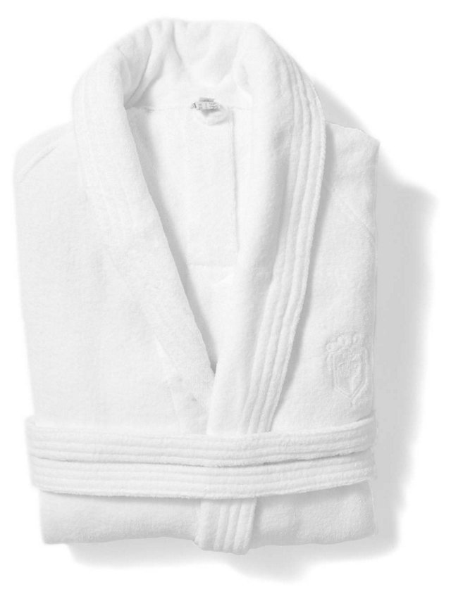 XL DP Hotel Terry-Velour Bathrobe, White