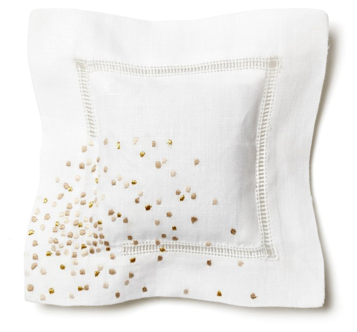 Embroidered Star Sachet, Gold/Beige