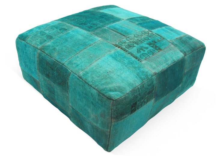 Patchwork Ottoman, Turquoise