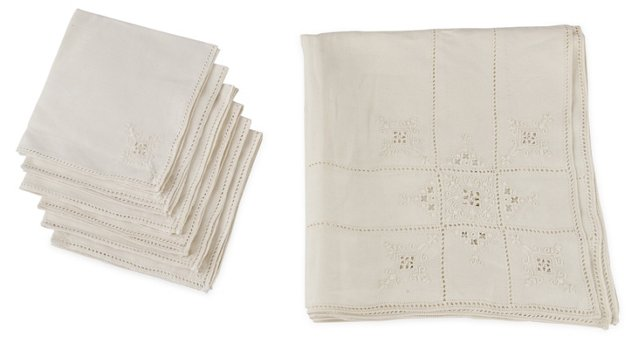French Tablecloth & Napkins, Set of 7