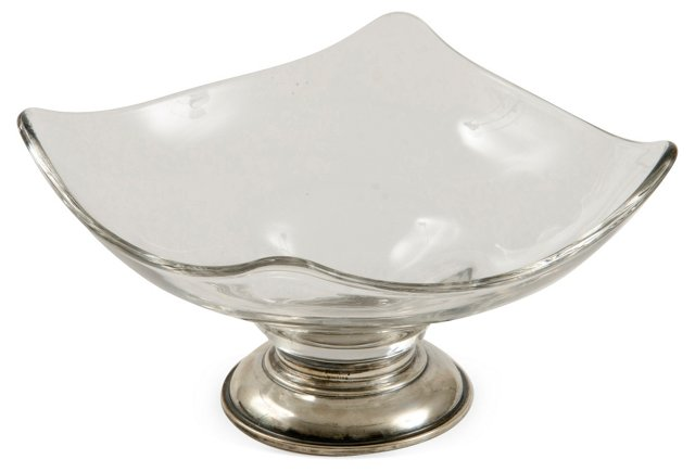 Sterling Footed Glass Nut Dish