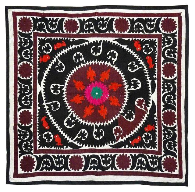 Hand-Embroidered Silk Suzani II