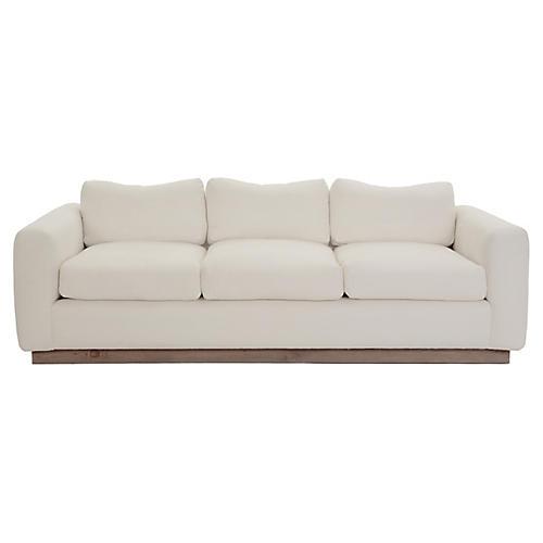 "Furh 90"" Sofa, Ivory Linen"