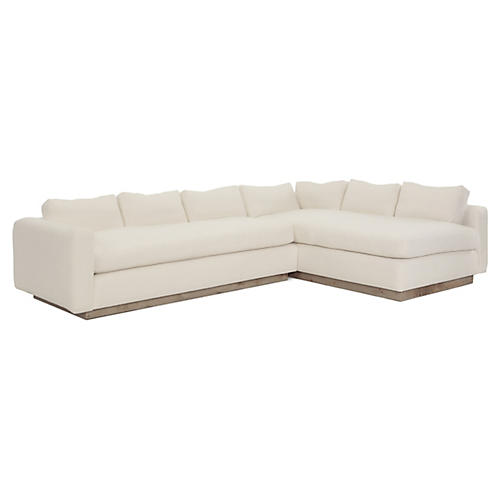 Furh Sectional, Ivory Linen