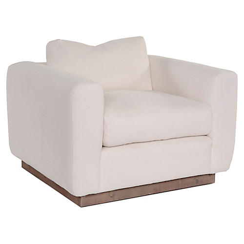Furh Swivel Club Chair, Ivory Linen