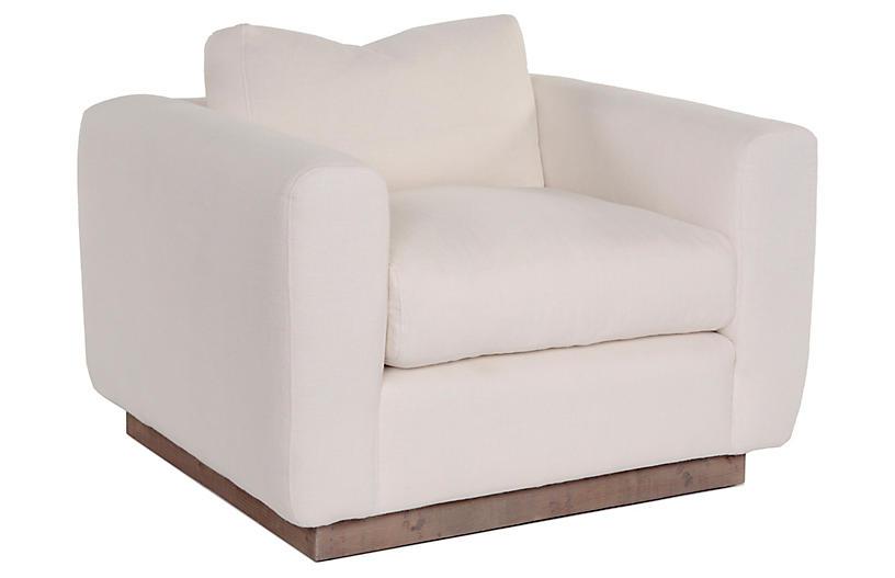 Furh Swivel Chair, Ivory Linen