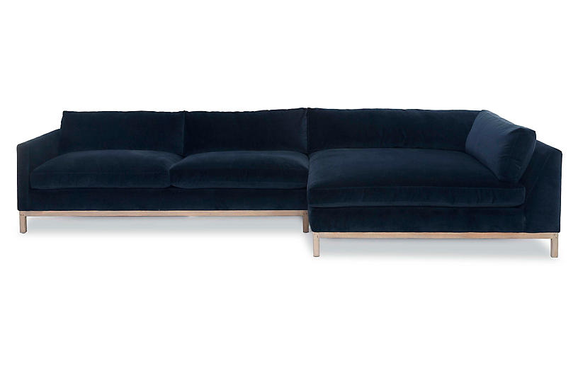 Dufton Sectional, Navy Velvet