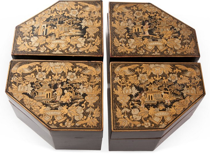 Asian Lacquered Wood Boxes, Set of 4