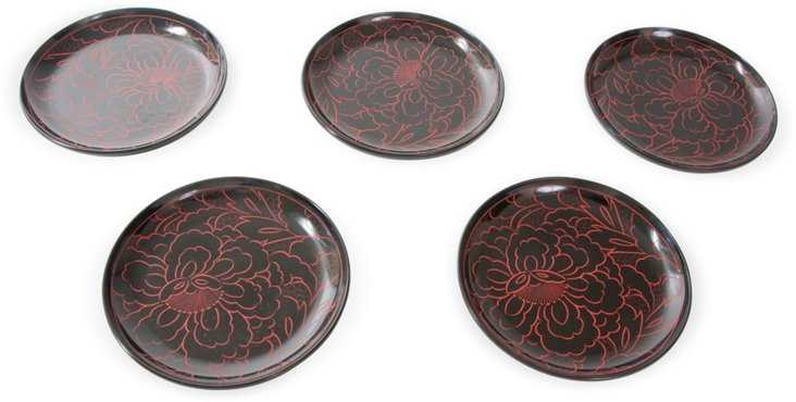 Lacquered Wood Floral Dishes, Set of 5