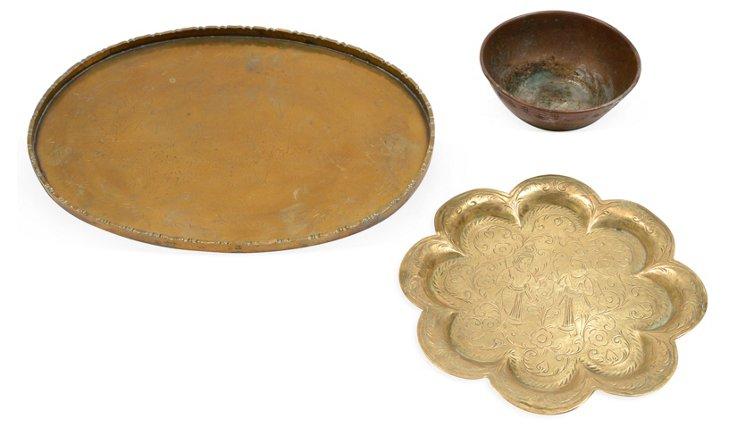 Brass Serveware, 3 Pcs.