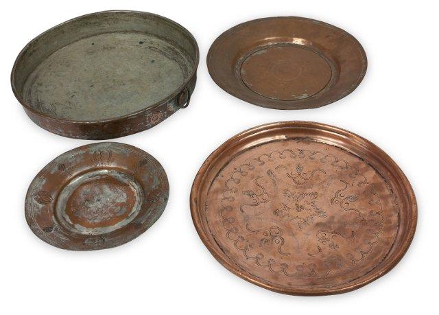 Turkish Copper Trays, Set of 4
