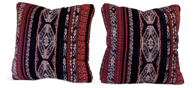 Indian Ikat Pillows, Pair II