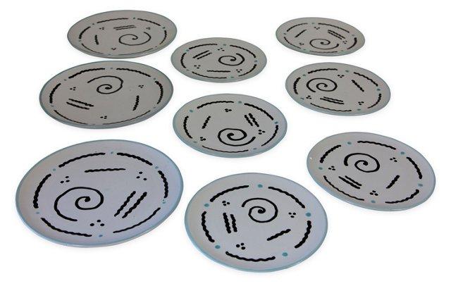 Italian New Wave Plates, Set of 9
