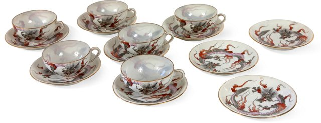 Asian Bone China Cups & Saucers, 15 Pcs.