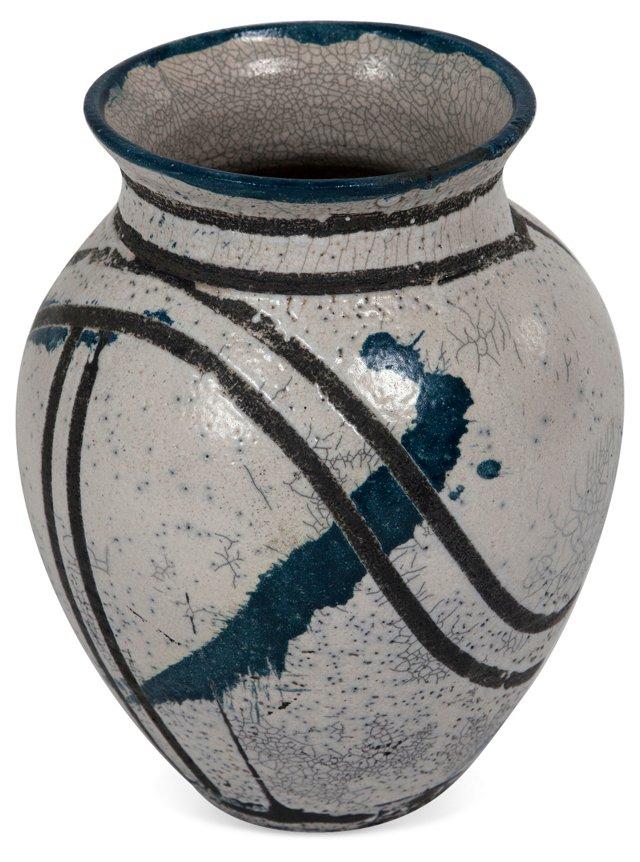 Abstract Splatter-Glaze Pottery Vase