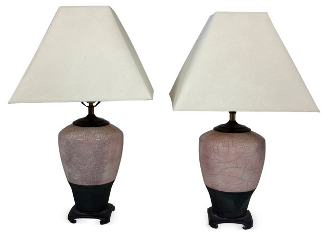 Raku Table Lamps, Pair