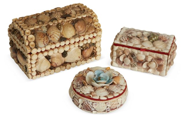 Vintage Shell Boxes, Set of 3