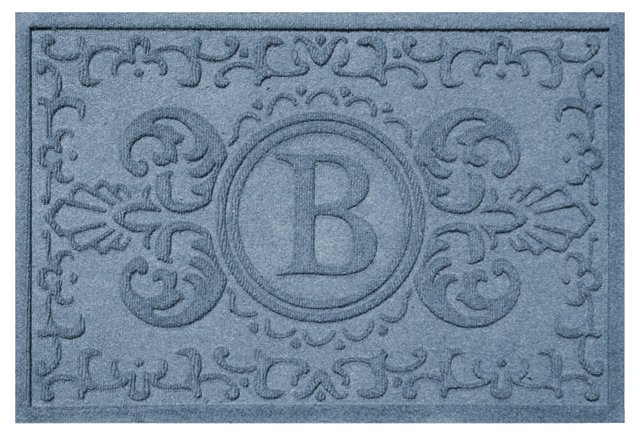 "1'11""x3' A Baroque Monogram Mat, Blue"