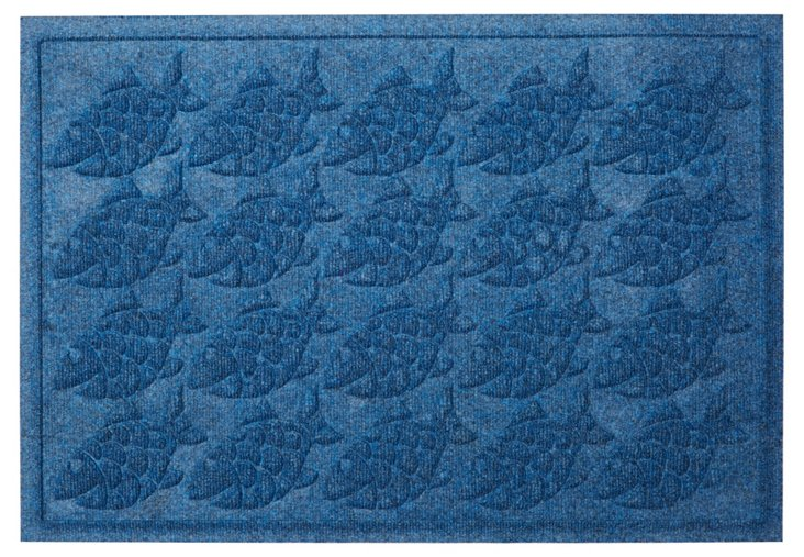 "1'11""x3' Tropical Fish Mat, Blue"