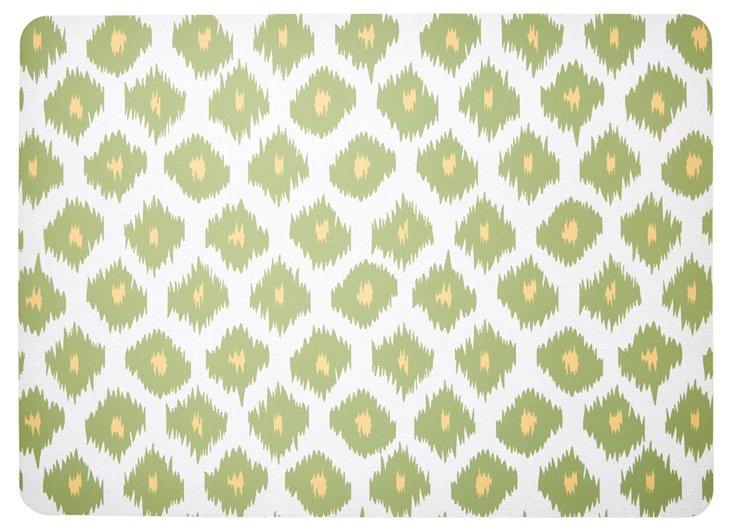 """1'11""""x2'7"""" Ikat Floor Mat, Green"""
