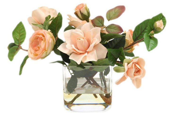 "15"" Roses in Vase, Faux"