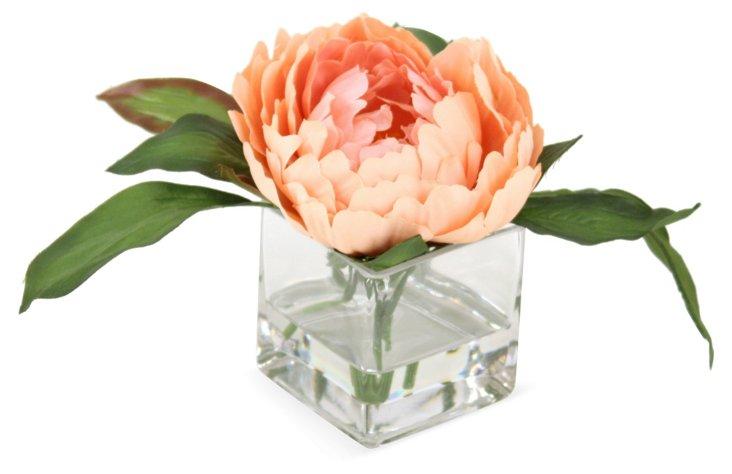 """S/3 8"""" Peonies in Vases, Faux"""