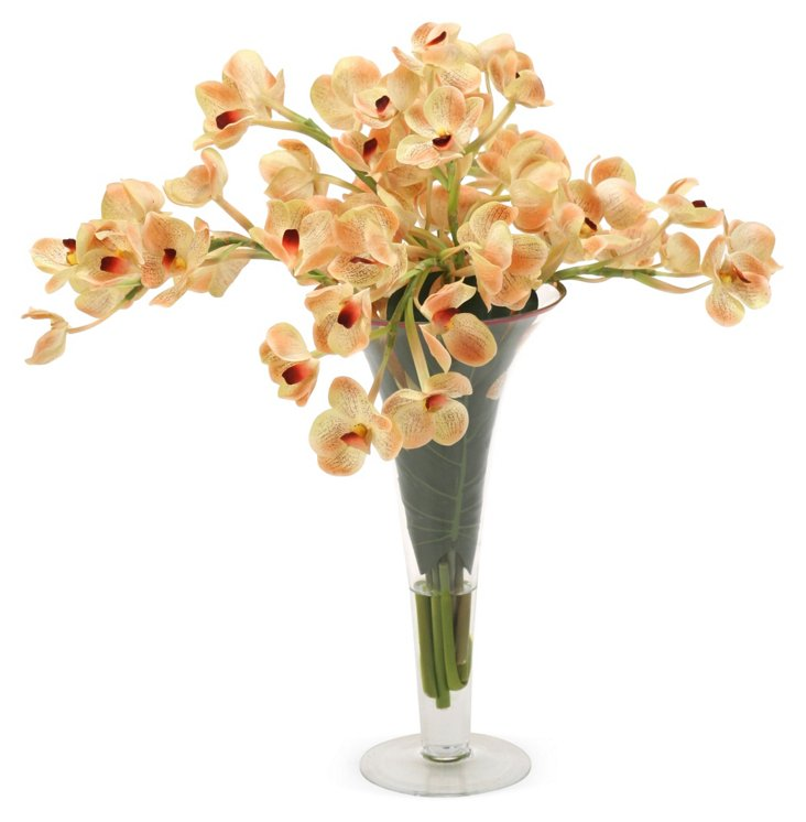 """26"""" Orchids in Vase, Faux"""