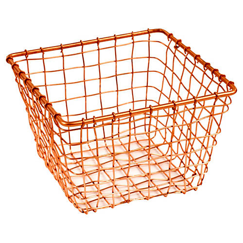 "7"" Bosworth Small Storage Basket, Copper"