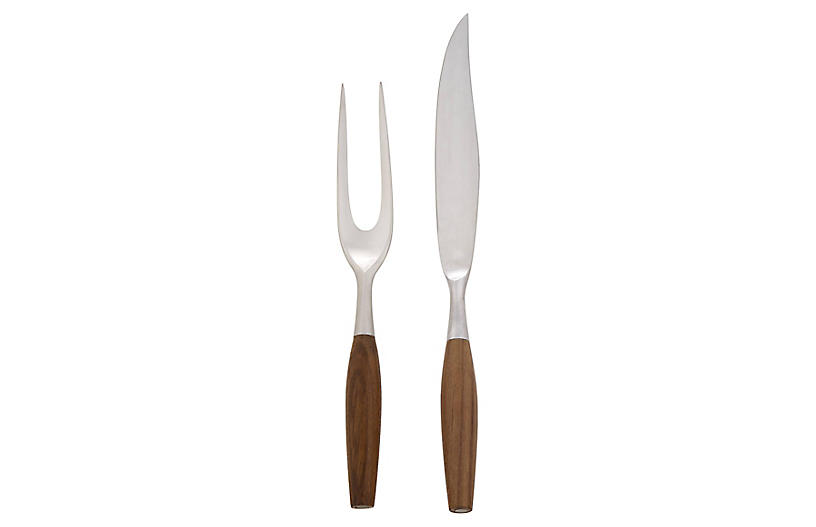 Asst. of 2 Fjord Carving Set, Silver/Brown