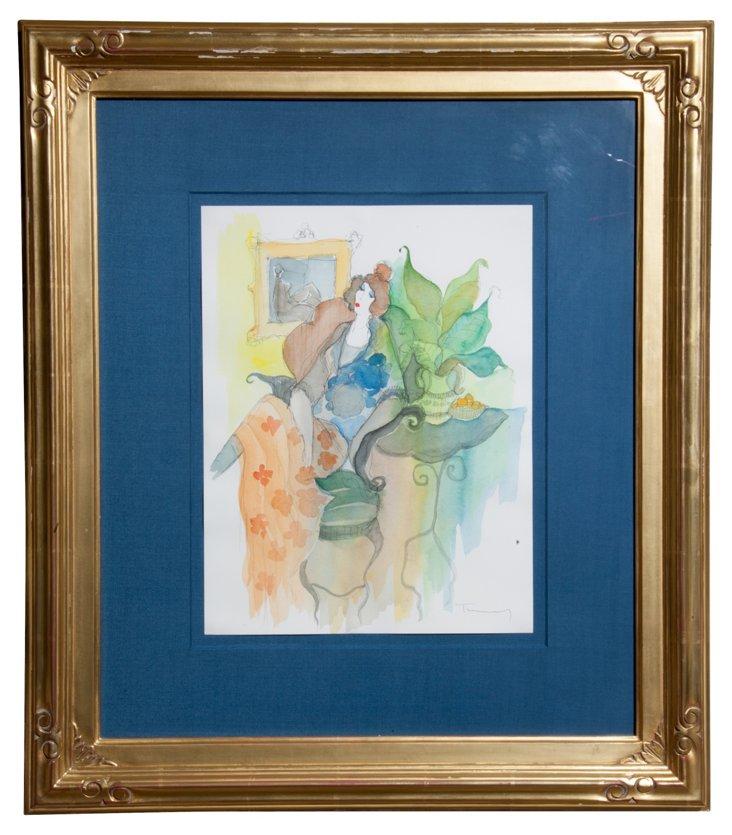 Watercolor, Woman w/ Plant