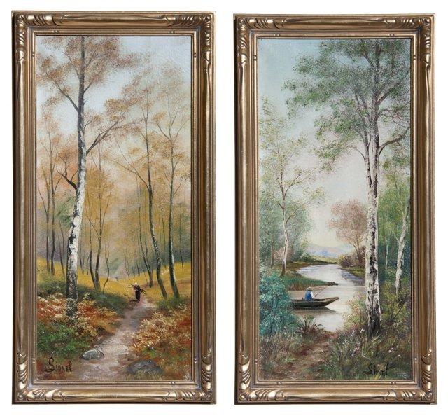 Framed Oil Landscapes, Pair II