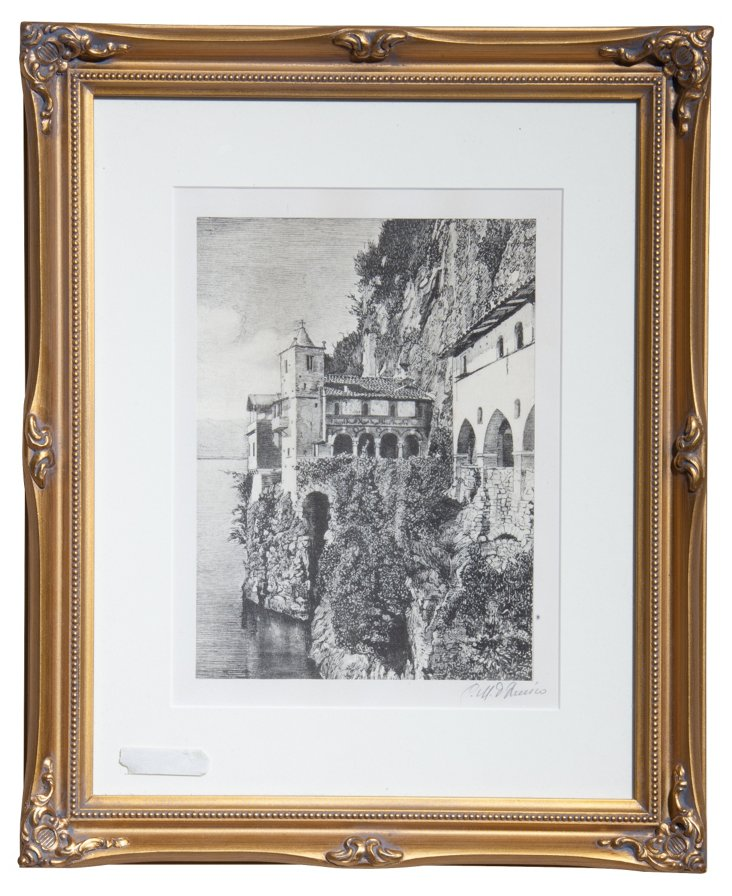 Framed Etching, Lake Maggiore